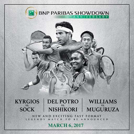 tennis, World Tennis Day, BNP Paribas Showdown, Kei Nishikori, Juan Martin del Potro, Venus Williams, Madison Square Garden, MSG, NYC, Japan
