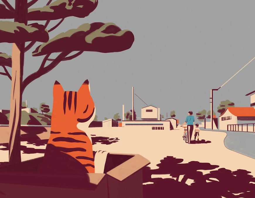 "Header Illustration by Emiliano Ponzi for The New Yorker, ""Abandoning My Cat"""