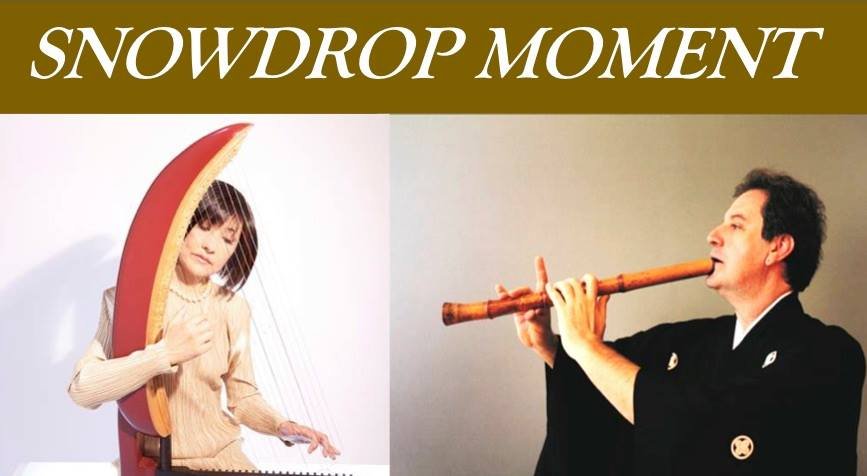 Snowdrop Moment, Kyo-Shin-An Arts, NYC, Japan, Tenri Cultural Institute, James Nyoraku Schlefer, Tomoko Sugawara, kugo, harp, shakuhachi, concert, traditional Japanese music
